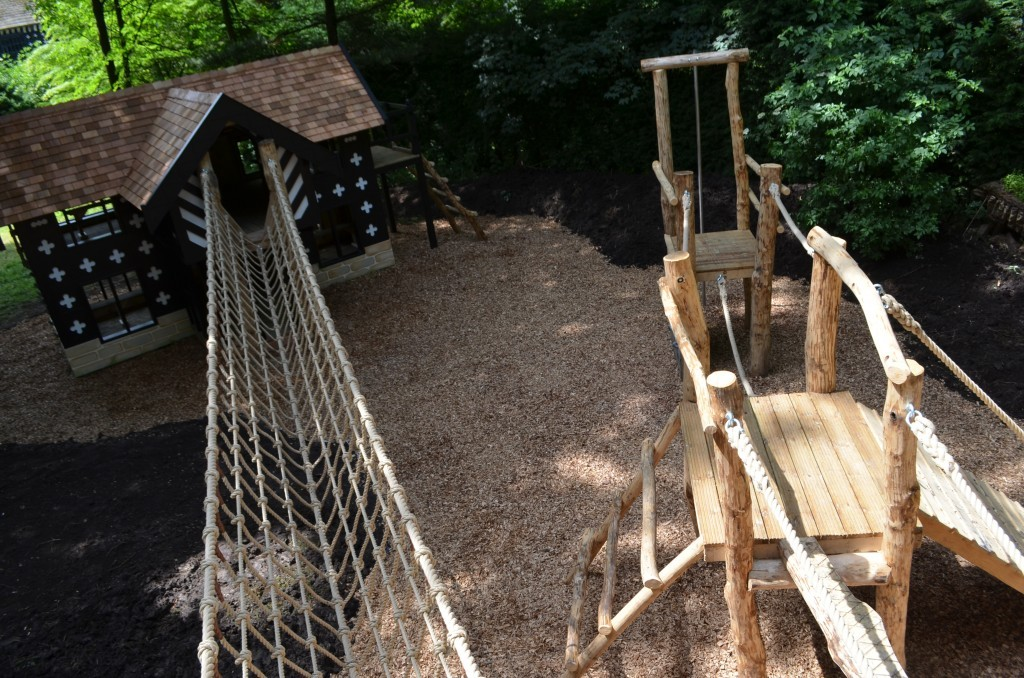 Aerial Samlesbury Hall Childrens Outdoor Play Area With Replica Landmark And The Mayflower Play Ship By Flights Of Fantasy