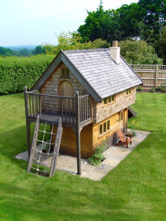 Aerial View Walnut Cottage Two Storey Custom Built Wooden Play House Playhouse With Shingle Roof