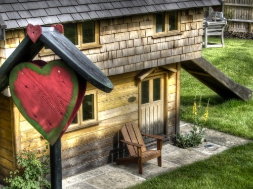 All You Need Is Love Walnut Cottage Two Storey Custom Built Wooden Play House Playhouse With Shingle Roof
