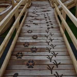 Animal Tracks On Decking Etching Post Wooden Carving Sculpture By Flights Of Fantasy