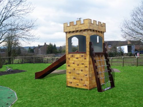 Back View Highnam Green Play Tower Childrens Play Castle
