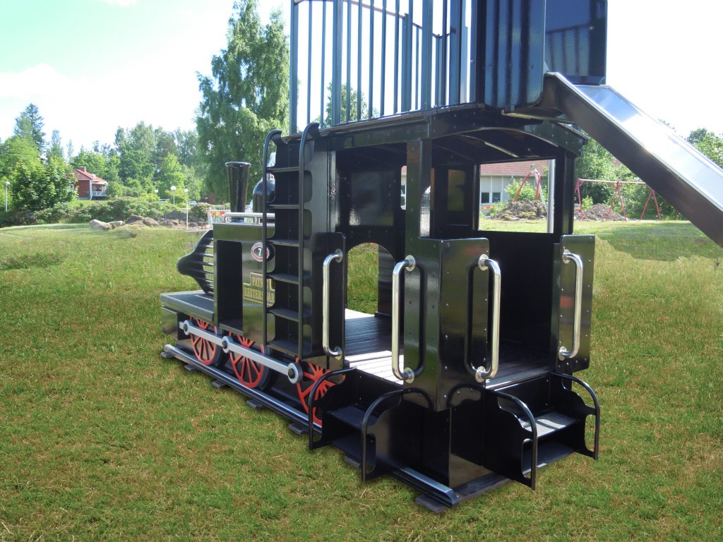 Back View Patrick Reutersward Replica Childrens Play Train With Slide Slide Pole And Ladder