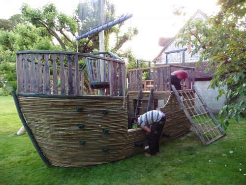 Back View The Scarlet Squid Willow Clad Wood Play Pirate Ship