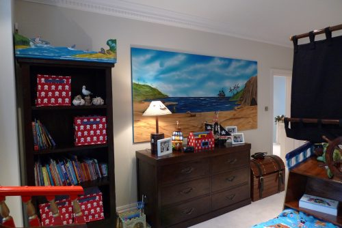 Back wall (Children's pirate bedroom themed interior)