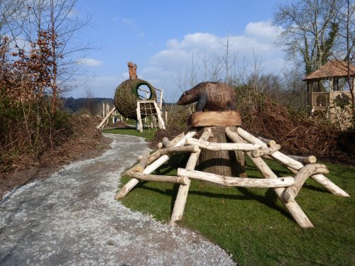 Badger And Squirrel Mounted Carving Wooden Sculpture At Castlewellan By Flights Of Fantasy