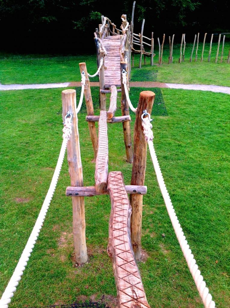 Balance beams with rope handles - Farnham Park Rustic Outdoor Play Area 14