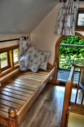 Bed In Bedroom First Floor Walnut Cottage Two Storey Custom Built Wooden Play House Playhouse With Shingle Roof