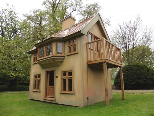 Below Moat Playhouse Childrens Wooden Bespoke Wendy House With Bay Window