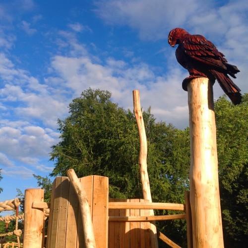 Bird of prey carving - Farnham Park Rustic Outdoor Play Area 01