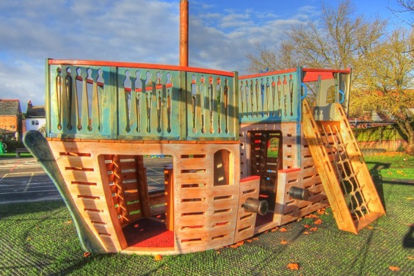 Canons and Climbing Rope (Houghton Conquest School Outdoor Wooden Play Area Pirate Ship)
