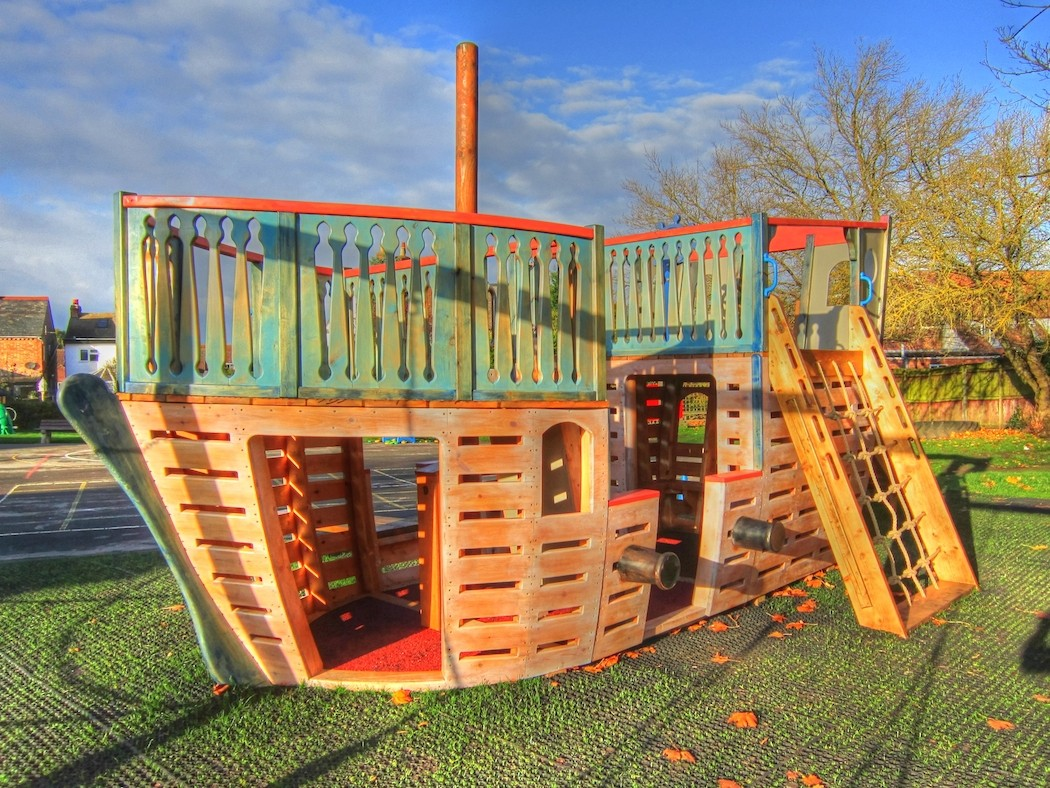Canons And Climbing Rope Houghton Conquest School Outdoor Wooden Play Area Pirate Ship