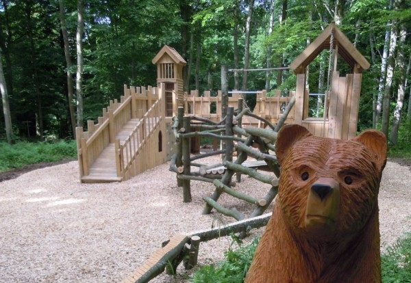 Carved Wooden Bear Head Wallington Fort Outdoor Play Area
