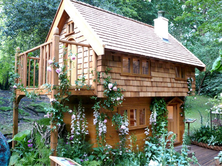 Chelsea Flower Show Presentation Walnut Cottage Two Storey Custom Built Wooden Play House Playhouse With Shingle Roof