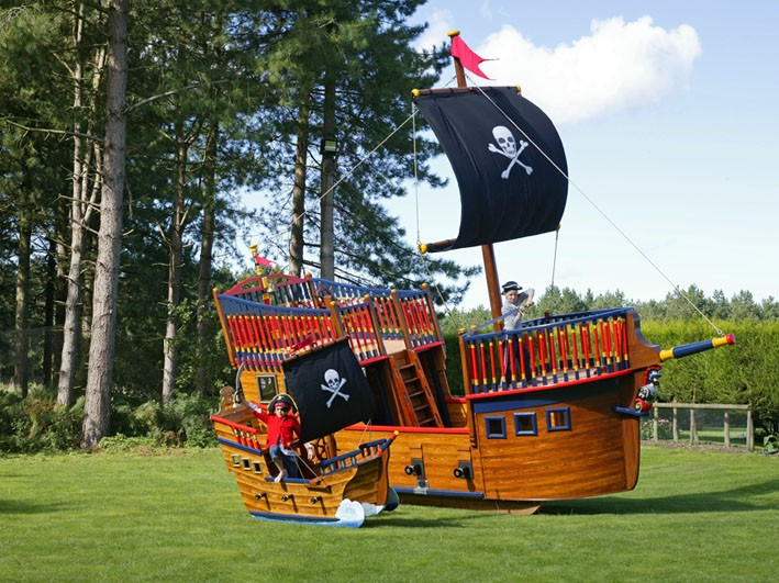 Child Pirates Pirate Galleon Giant Wooden Play Pirate Ship For Children