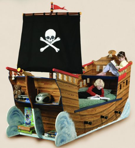 Children Reading Pirate Ship Bed Wooden Childrens Beds Bedroom Furniture 1