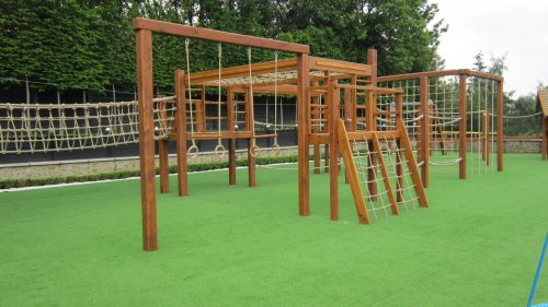 Climb Equipment Miniature Play Village With Two Playhouses Wendy House And Climing Apparatus Playground