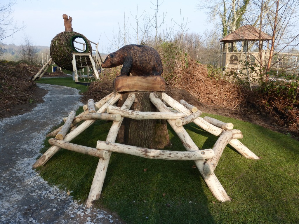Climb Feature Animal Wood Animal Themed Outdoor Play Area With Animal Carvings At Castlewellan Forest Park Northern Ireland