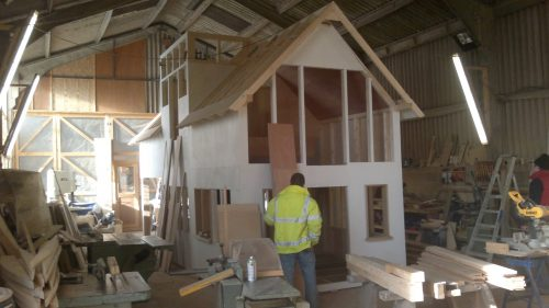 Construction Miniature Play Village With Two Playhouses Wendy House And Climing Apparatus Playground