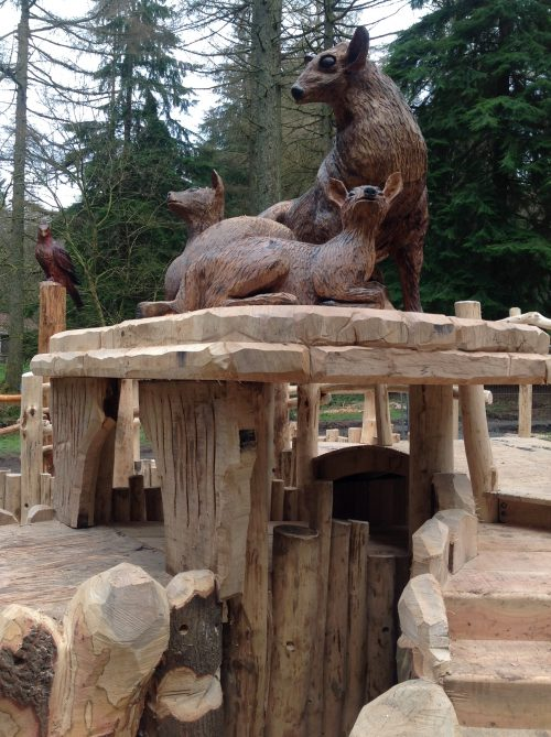 Deer Family Sculpture Wooden Carving By Flights Of Fantasy