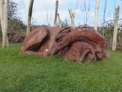Deer And Fawn Ground Bearing Sculpture Wooden Carving By Flights Of Fantasy