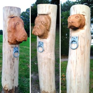 Dog Figure Head Tether Post Wooden Carving Sculpture By Flights Of Fantasy