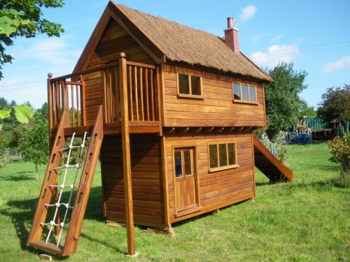 Elm House Childrens Playhouse Wendy House Front Left View Showing Cargo Net