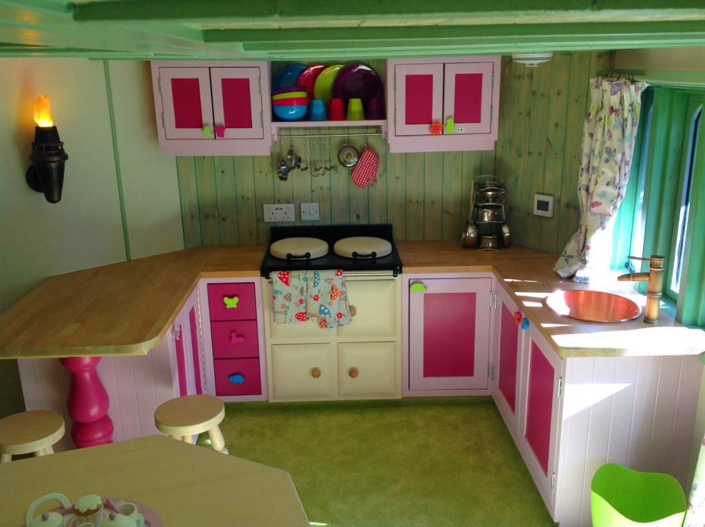 Fitted Kitchen Interior With Mock Aga and Fire Lanterns - Rapunzel's Dreamhouse Floral Fantasy - Magical Fantasy Themed Children's Playhouse Wendy House09