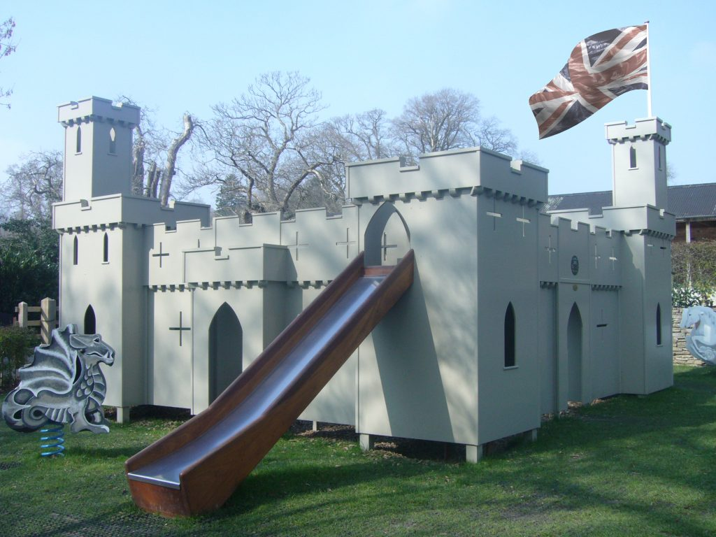 Flying the flag on the castle (Croft Castle children's outdoor play area and wooden castle)