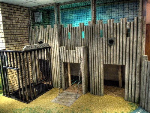Fort (Smuggler's Bar and Grill restaurant indoor children's play area pirate themed with climbing ropes and slide)