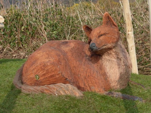 Fox Carving Animal Wood Animal Themed Outdoor Play Area With Animal Carvings At Castlewellan Forest Park Northern Ireland