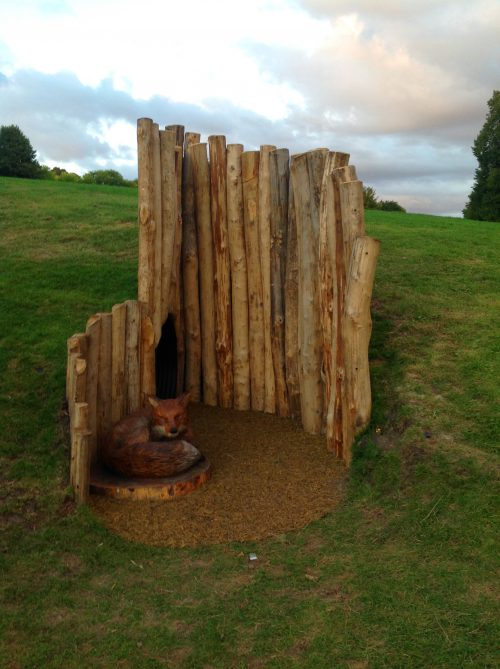 Fox And Fox Hole Sculpture Wooden Carving By Flights Of Fantasy