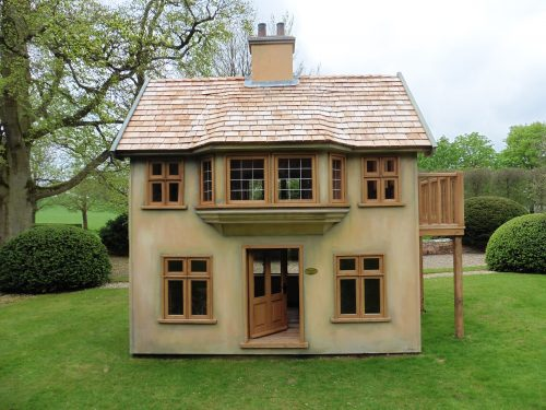 Front – Moat Playhouse Children's Wooden Bespoke Wendy House With Bay Window