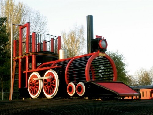 Front Right Low Runcorn Play Train Centrepiece Outdoor Play Area