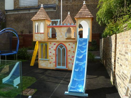 Front View Water Slide Castle Childrens Private Playhouse