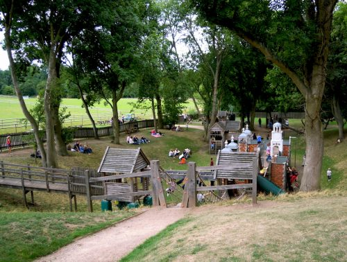 Full Area Hatfield House Childrens Outdoor Wooden Play Area Full Of Kids By Flights Of Fantasy