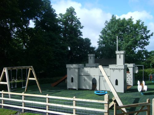 Full view of playground (Croft Castle children's outdoor play area and wooden castle)