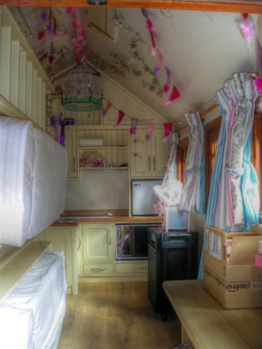 Furnished interior (Ariana children's wooden play house : playhouse in a UK private garden with fully furnished interior including heating electrics kitchen beds)