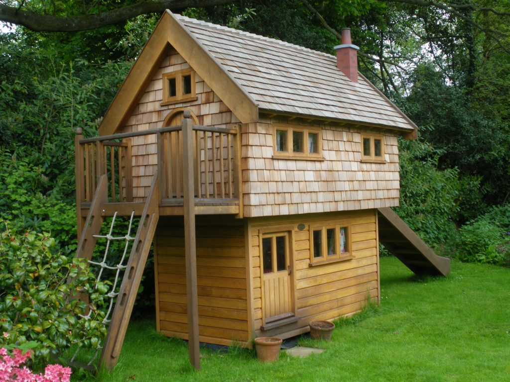 In The Garden Walnut Cottage Two Storey Custom Built Wooden Play House Playhouse With Shingle Roof 2