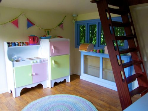 Interior-Downstairs-Woodsmans-Cottage-Childrens-Playhouse-Wendy-House-For-Sale