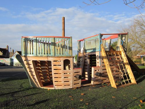 Main View Houghton Conquest School Pirate Ship Playground