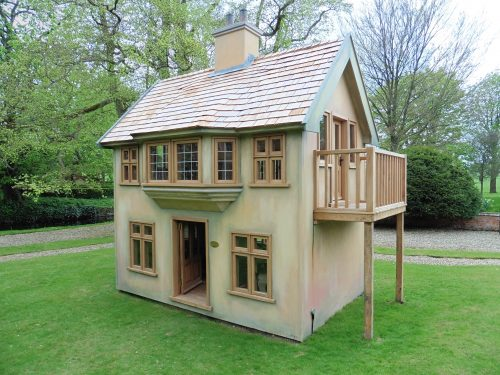 Main View Moat Playhouse Childrens Wooden Bespoke Wendy House With Bay Window
