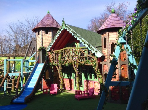 Main View With Slide – Rapunzel's Dreamhouse Floral Fantasy – Magical Fantasy Themed Children's Playhouse Wendy House06