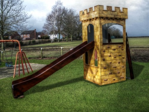 Main View Highnam Tower Wooden Play Castle Turret With Slide Climbing Wall And Climbing Net