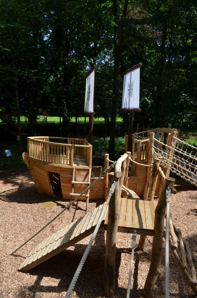 Mayflower And Balancing Ropes Samlesbury Hall Childrens Outdoor Play Area With Replica Landmark And The Mayflower Play Ship By Flights Of Fantasy E1482000414796