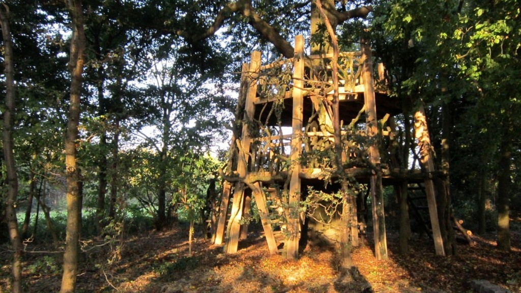 Moseley Old Hall Rustic Forest Tree House Play Area Dusk