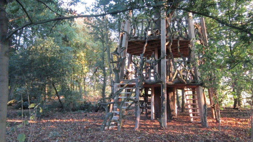 Moseley Old Hall Rustic Forest Tree House Play Area Main View