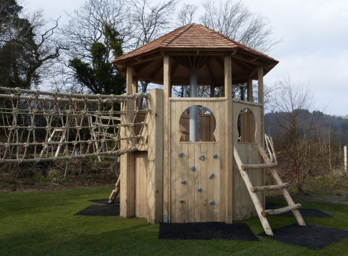 Multi Play Tower Animal Wood Animal Themed Outdoor Play Area With Animal Carvings At Castlewellan Forest Park Northern Ireland
