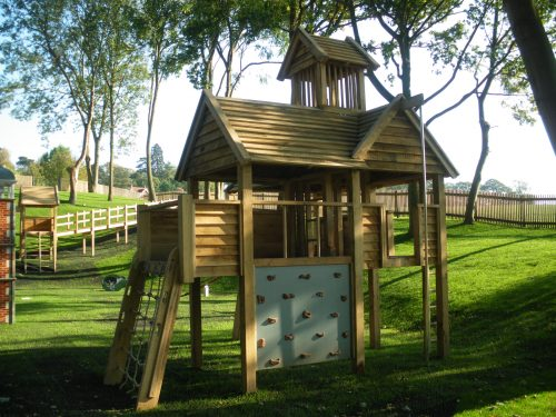 Multi Play Tower Back View Hatfield House National Trust Childrens Outdoor Wooden Play Area Replica By Flights Of Fantasy