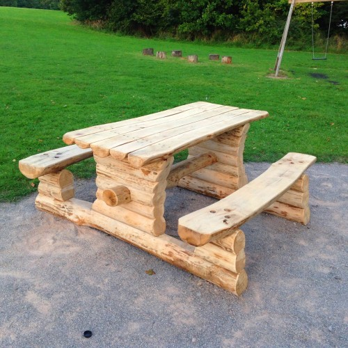 Natural sweet chestnut picnic bench - Farnham Park Rustic Outdoor Play Area 06