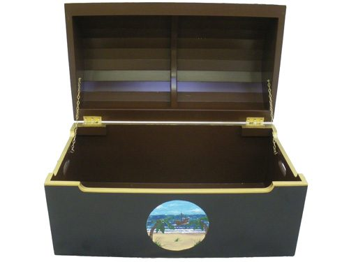 Open Chest Silhouette Wooden Pirate Treasure Chest For Children Childrens Furniture Toy Box 1